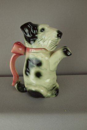 German Majolica Scottie Dog Teapot With Pink Ribbo