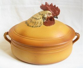 French Porcelain Dish With Rooster On Cover, 13""