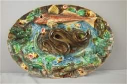 630: Longchamp French Palissy Ware majolica oval tray w
