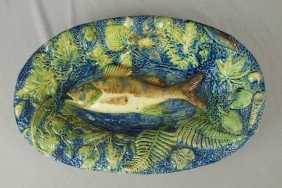 French Palissy Ware Majolica Oval Tray With Fish I