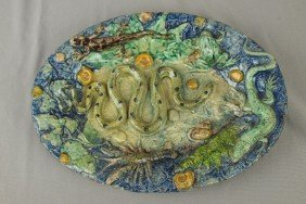 French Palissy Ware Majolica Tray With Snake, Frog