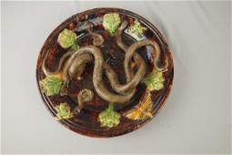 649: Portugal Palissy Ware majolica round tray with two