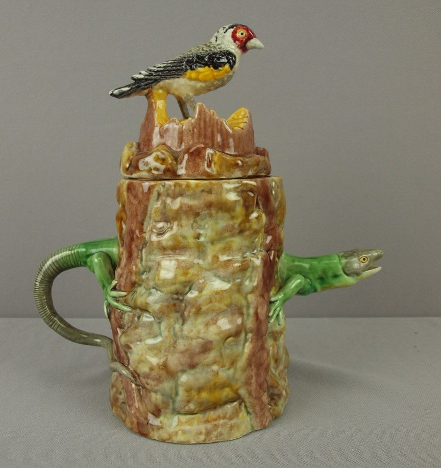 660A:  Palissy Ware figural teapot with bird on lid and
