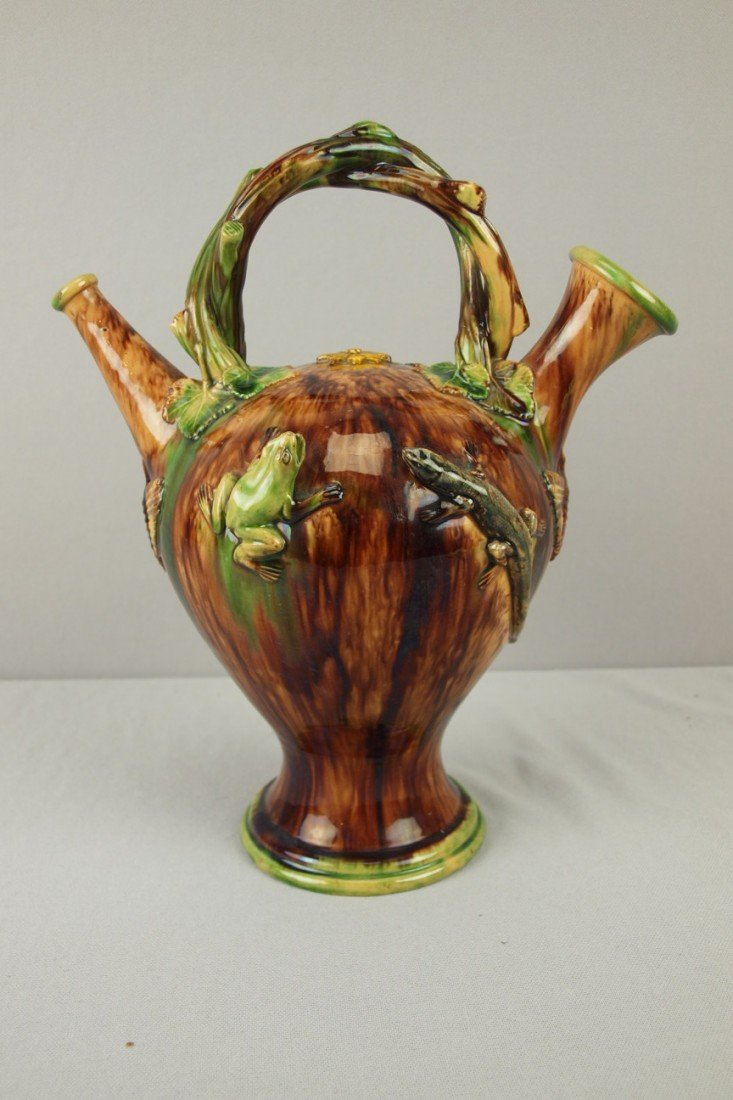 664: French Palissy Ware majolica water jug with vine b