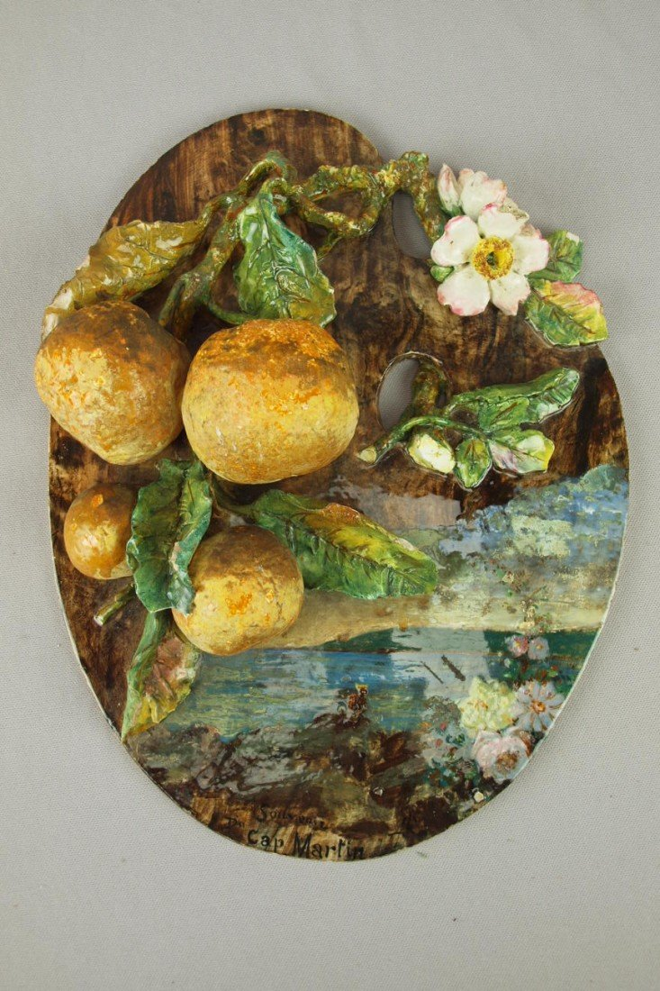666: MENTON French plaque with applied fruit and flower