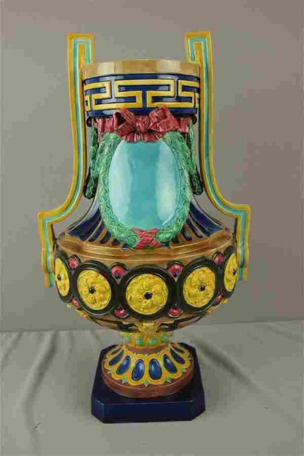 English majolica large two handled urn, minor chip