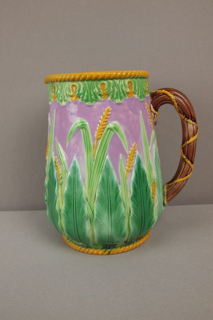 723: GEORGE JONES pink wheat and leaf pitcher with yell