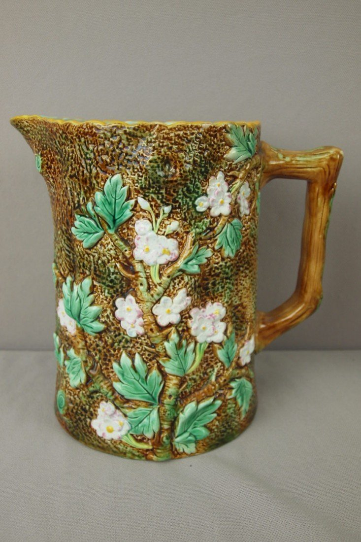 734: GEORGE JONES rustic floral pitcher, 8""