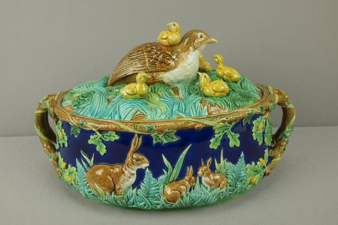 883: GEORGE JONES rare majolica game dish with quail an