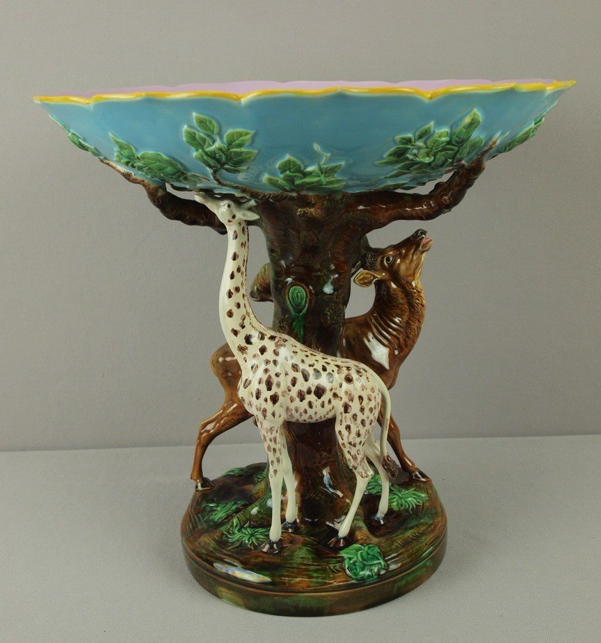 888: GEORGE JONES monumental majolica compote from the