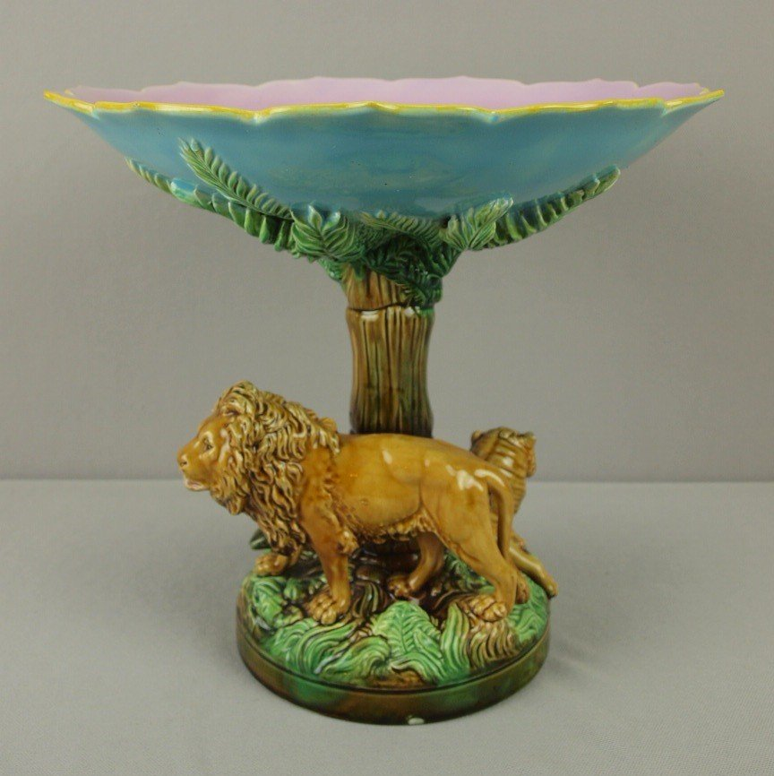 "889: GEORGE JONES majolica rare ""Africa"" compote with l"