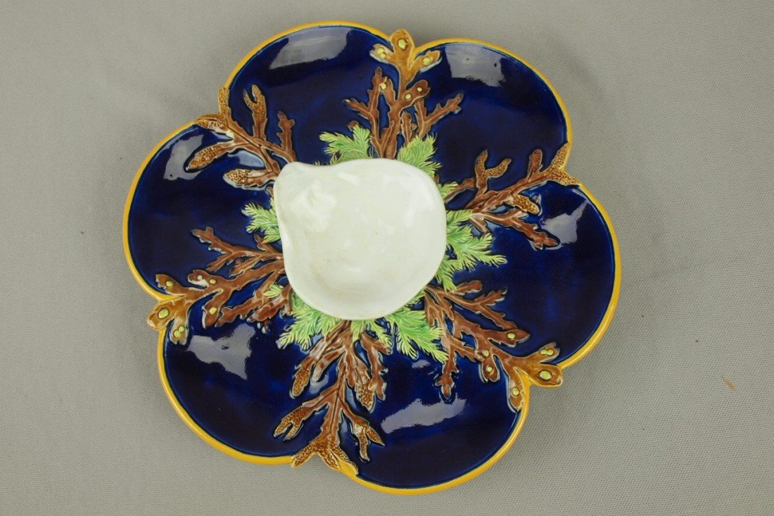 891: GEORGE JONES cobalt large 6 well oyster plate with