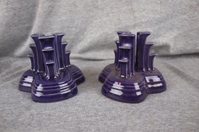 Fiesta Post 86 Plum Pyramid Pair Of Candle Holders