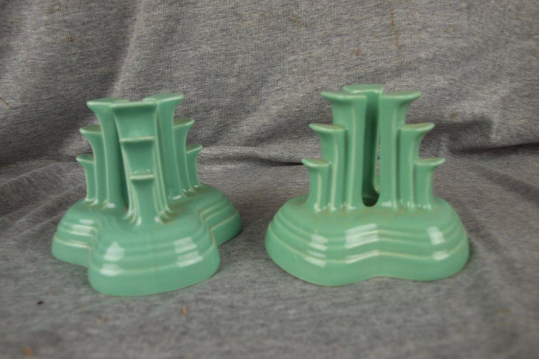 74: Fiesta Post 86 Sea Mist Green pyramid pair of candl