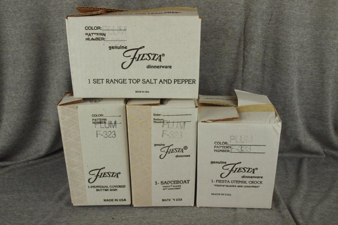 96: Fiesta Post 86 Plum group - pair of range shakers,
