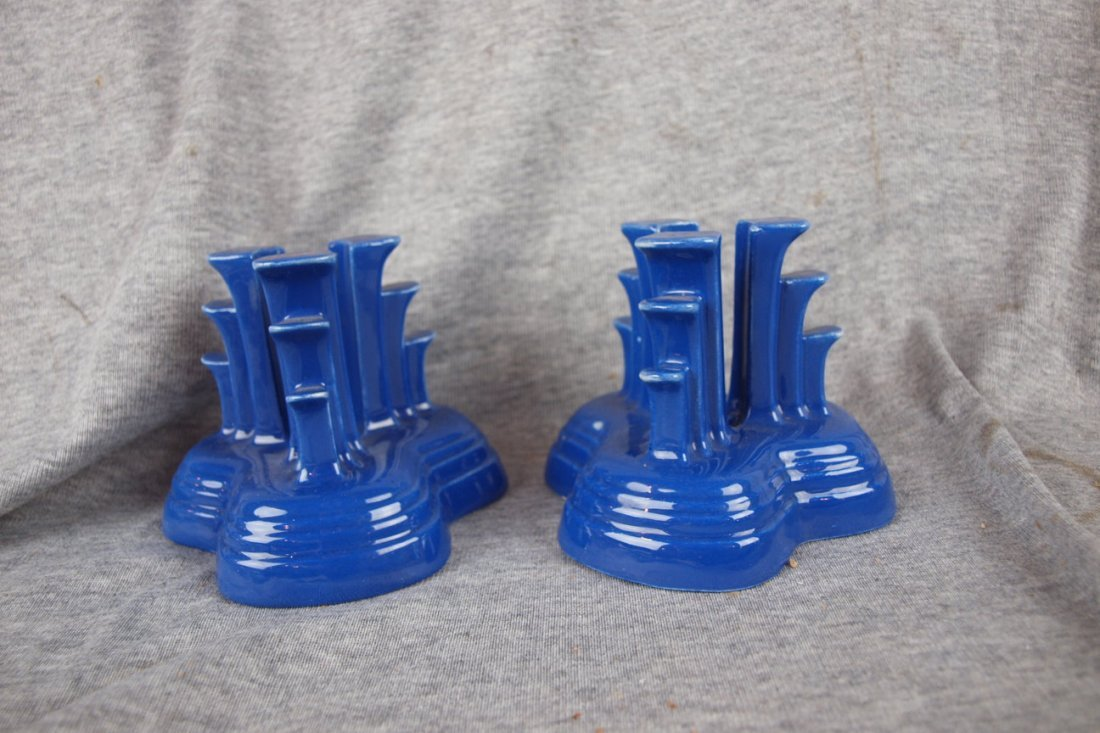 501: Fiesta tripod candle holder, pair, cobalt