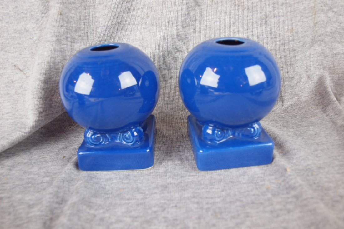 504: Fiesta bulb candle holder, pair, cobalt