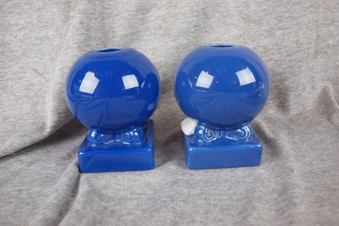 507: Fiesta bulb candle holder, pair, cobalt