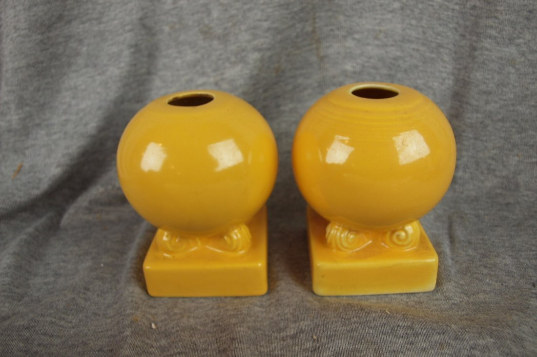 514: Fiesta bulb candle holders, pair, yellow