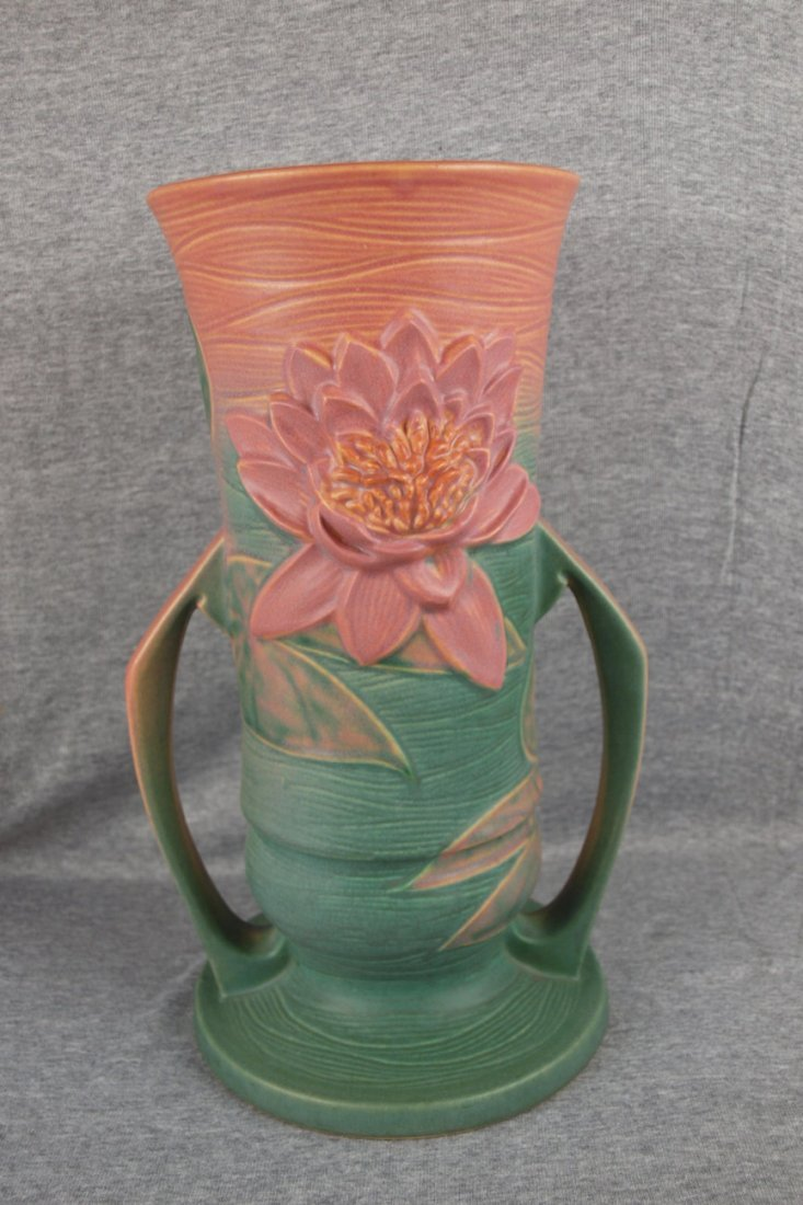 1: Roseville Waterlily two handled vase, 82-14""