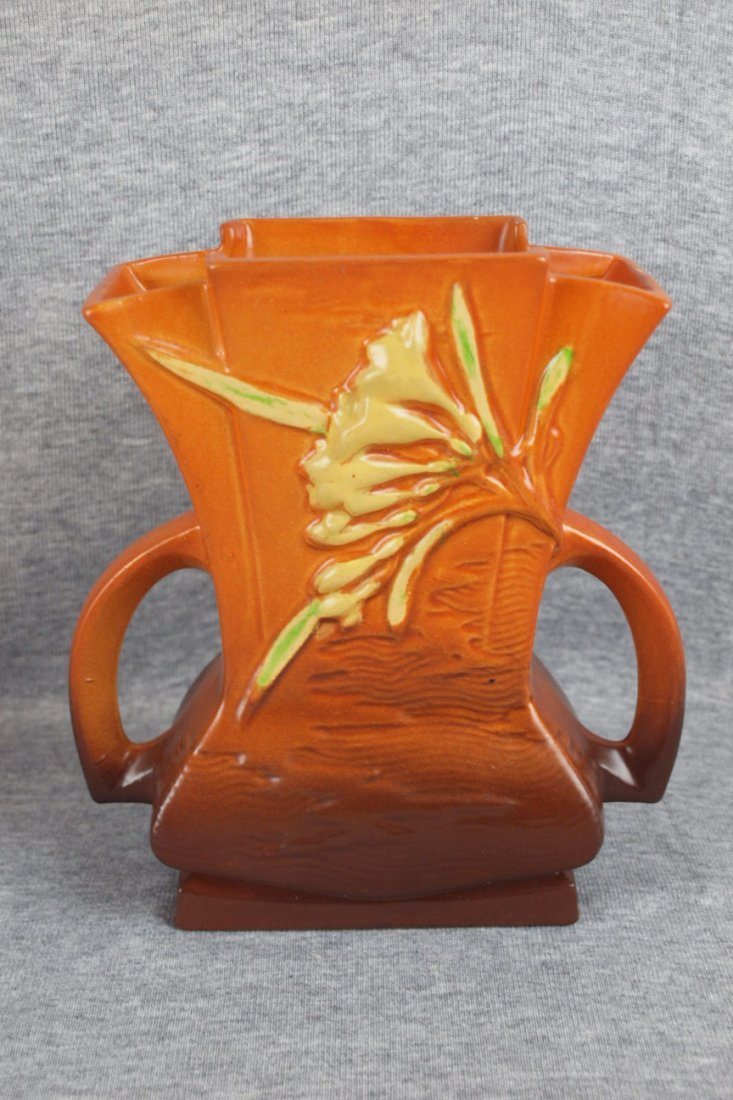 9: Roseville brown Freesia pillow vase, 200-7""