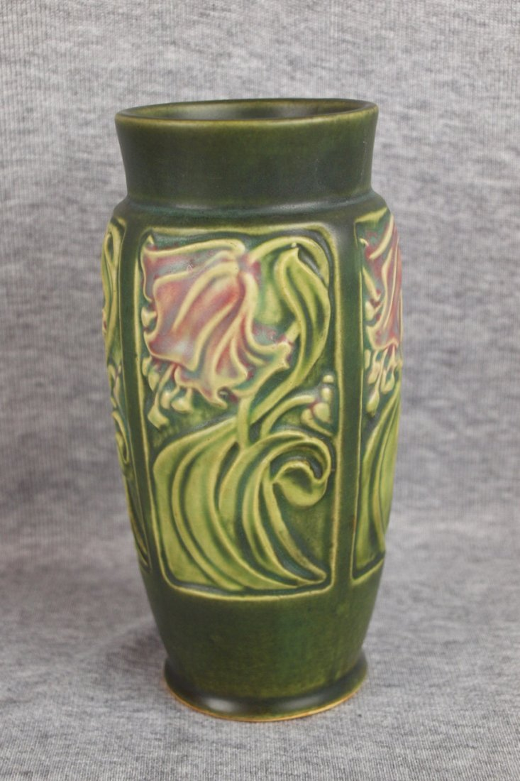 "14: Roseville Panel 6"" vase with Rv ink stamp"