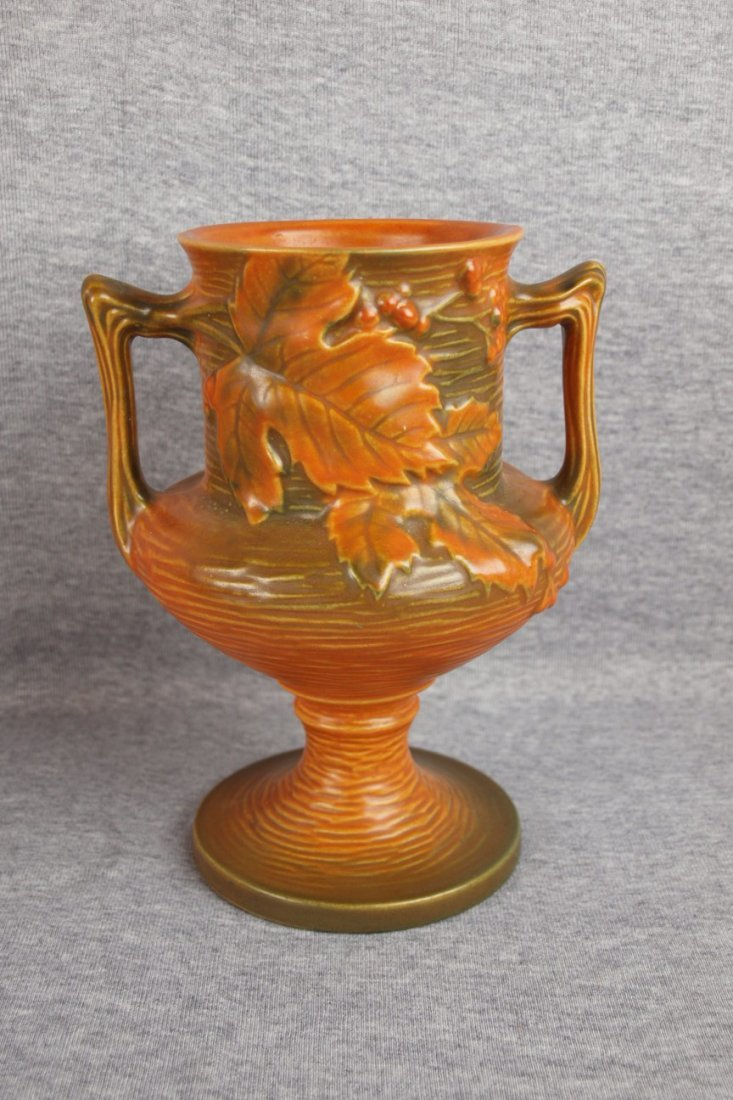 23: Roseville brown Bushberry vase, 157-8""