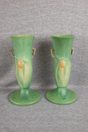 Roseville Pair Of Green Pinecone Bud Vases, 705-9""