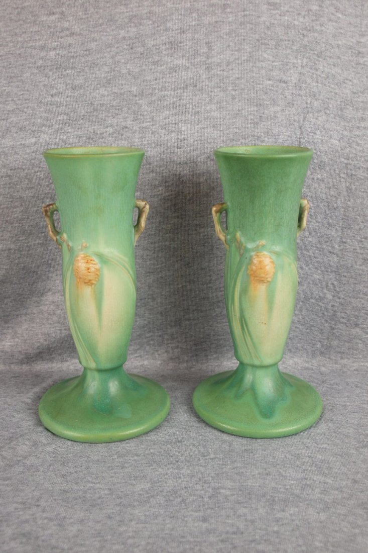 30: Roseville pair of green Pinecone bud vases, 705-9""
