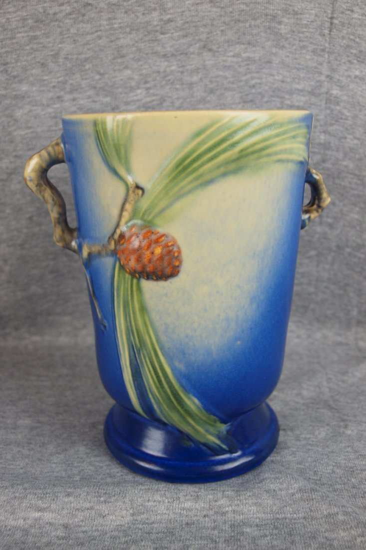 38: Roseville blue Pinecone vase, 7 1/4""