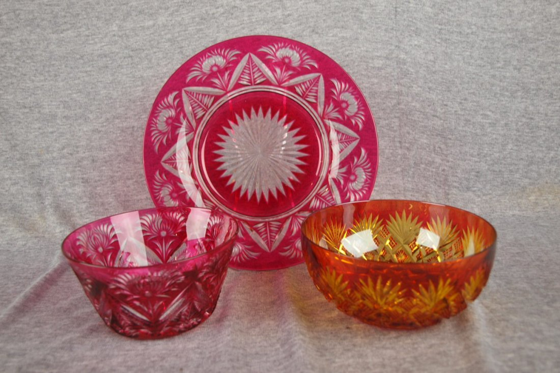 433: Ruby cut to clear finger bowl with tray and ruby c