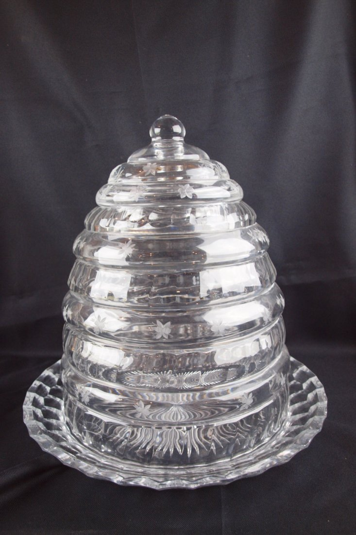 458: Lead crystal monumental 3 piece beehive with etche