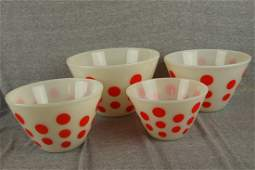 483: Fire King set of 4 red Polka Dot nested bowls