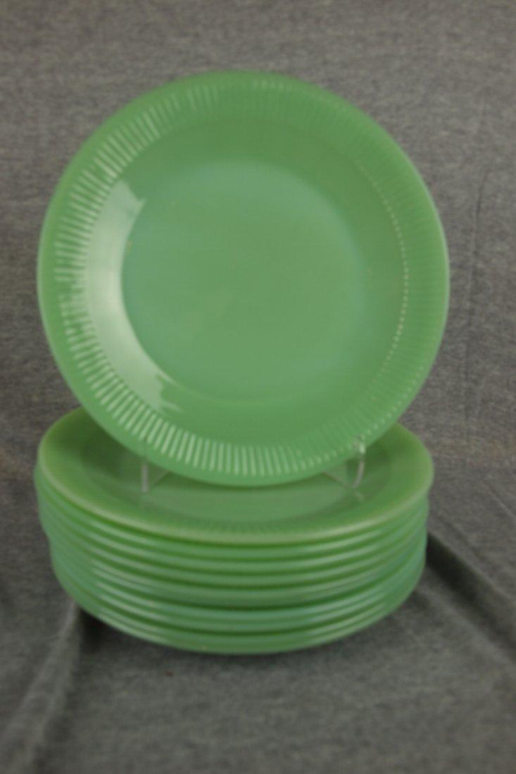 "490: Fire King Jadite Jane Ray set of 11-9"" plates"