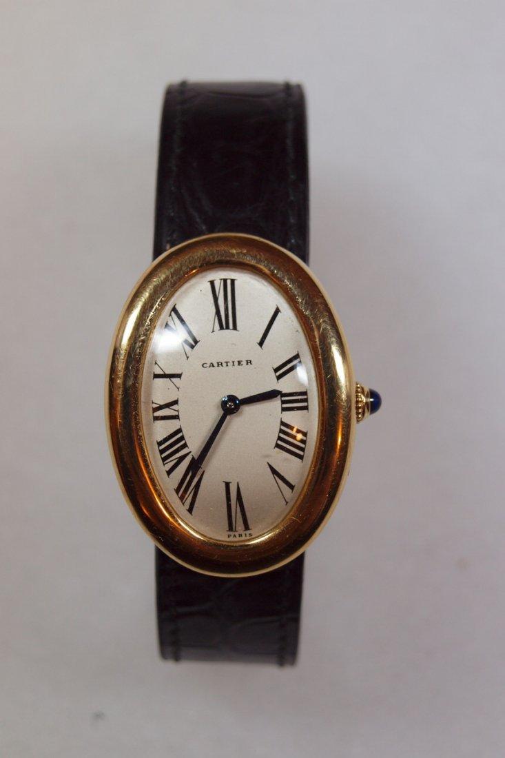 347: Cartier Vintage 18kt Baignoire men's wrist watch,