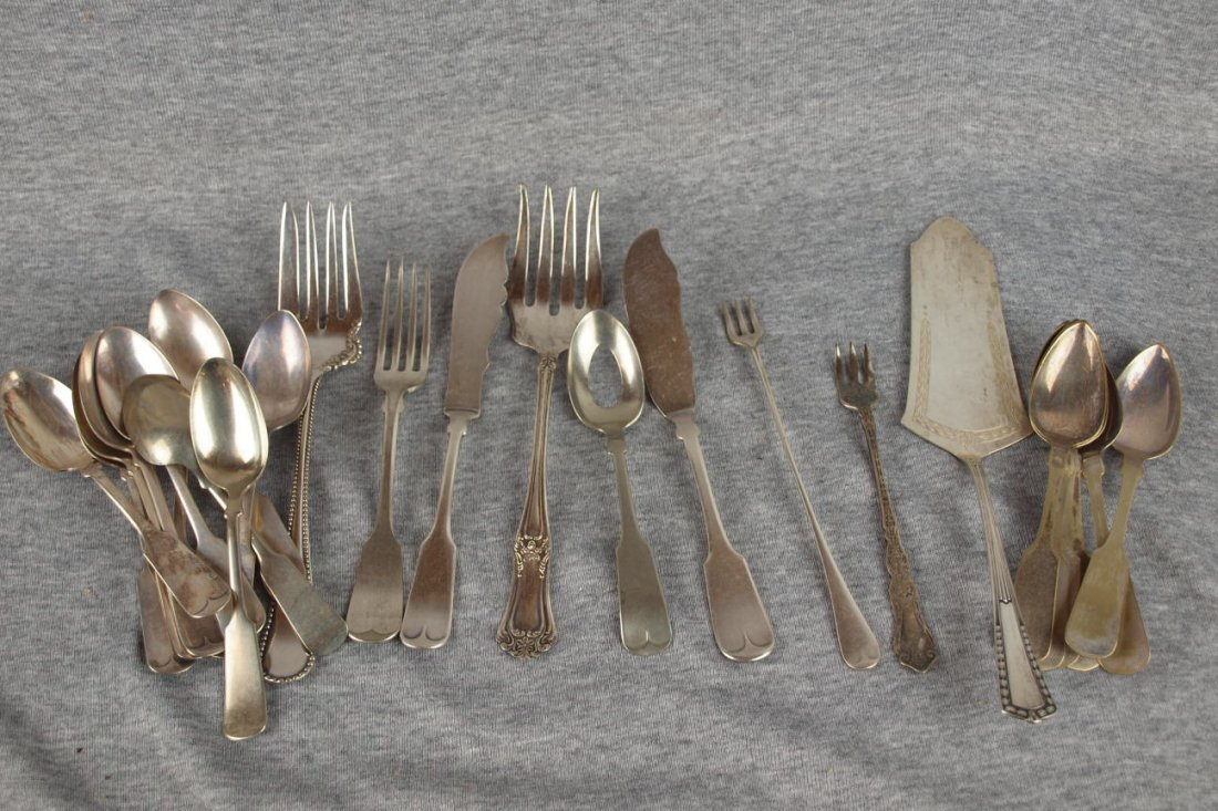 608:  Lot of 26 silver flatware, some coin silver and .