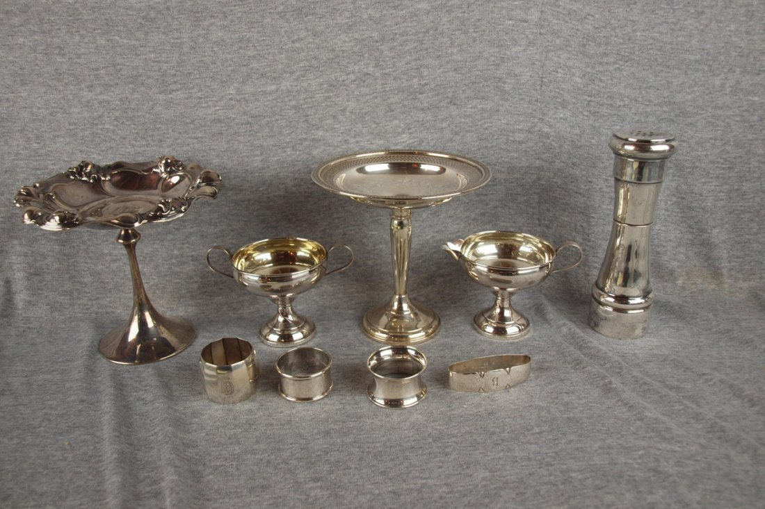 611:  Lot of 9 sterling silver pieces - comport, creame