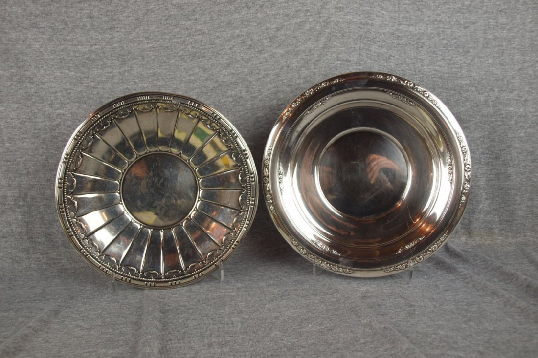 612: Lot of 2 sterling silver plates/trays