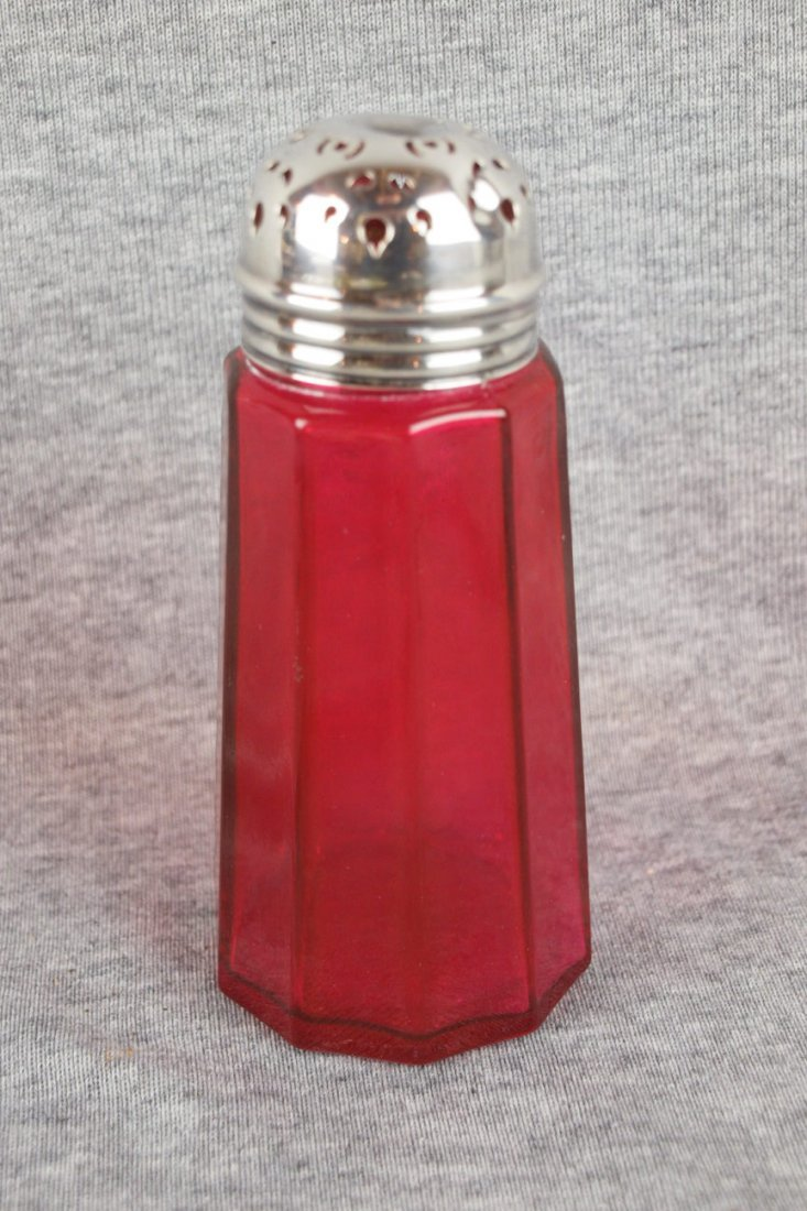 614: Cranberry panel glass sugar shaker with silver top