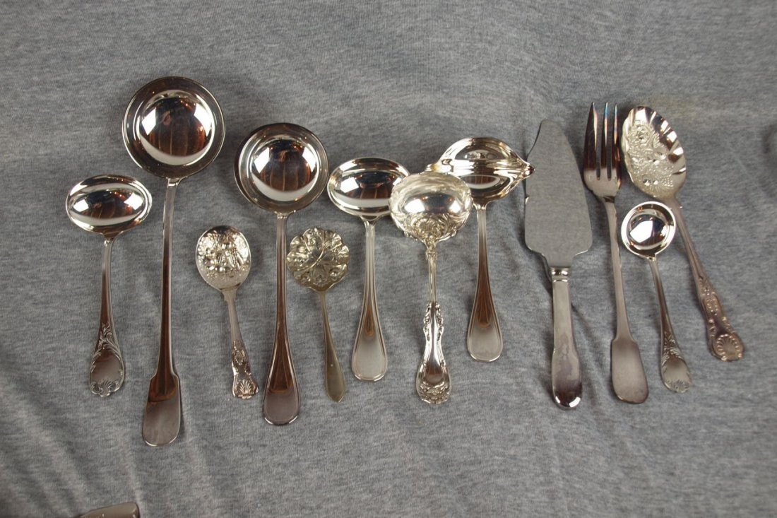 618: Lot of 12 silver plated serving pieces