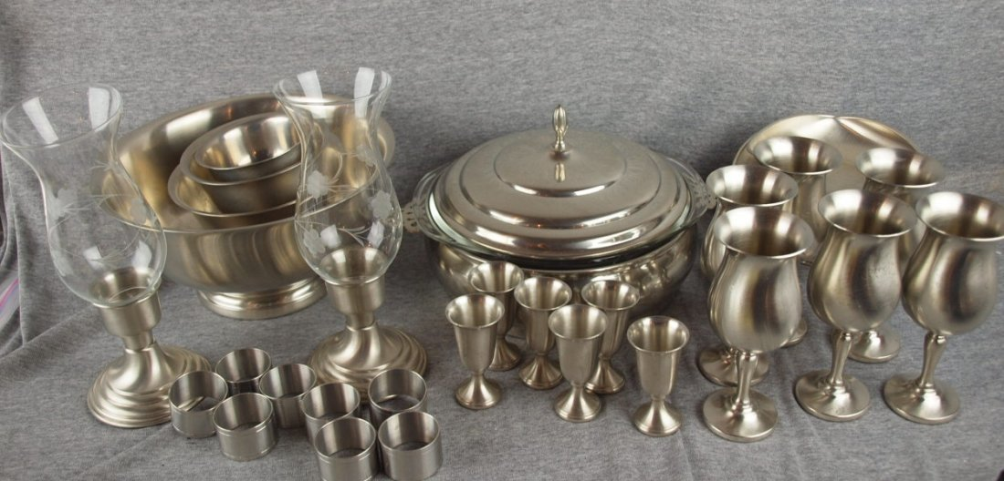 625:  Lot of 30 pieces of Preisner pewter - goblets, ca
