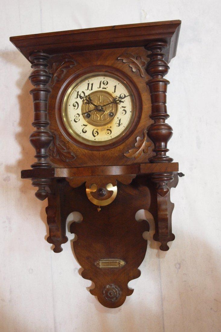 "790:  Walnut wall regulator clock 26""h"
