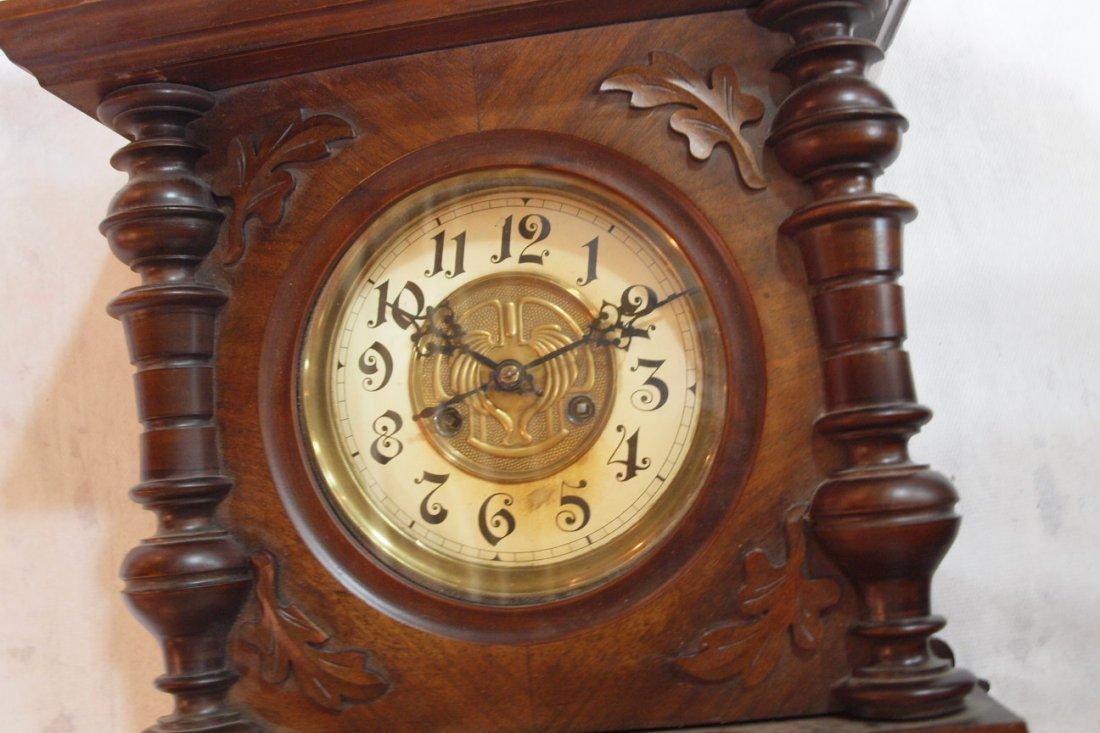 "790:  Walnut wall regulator clock 26""h  - 2"