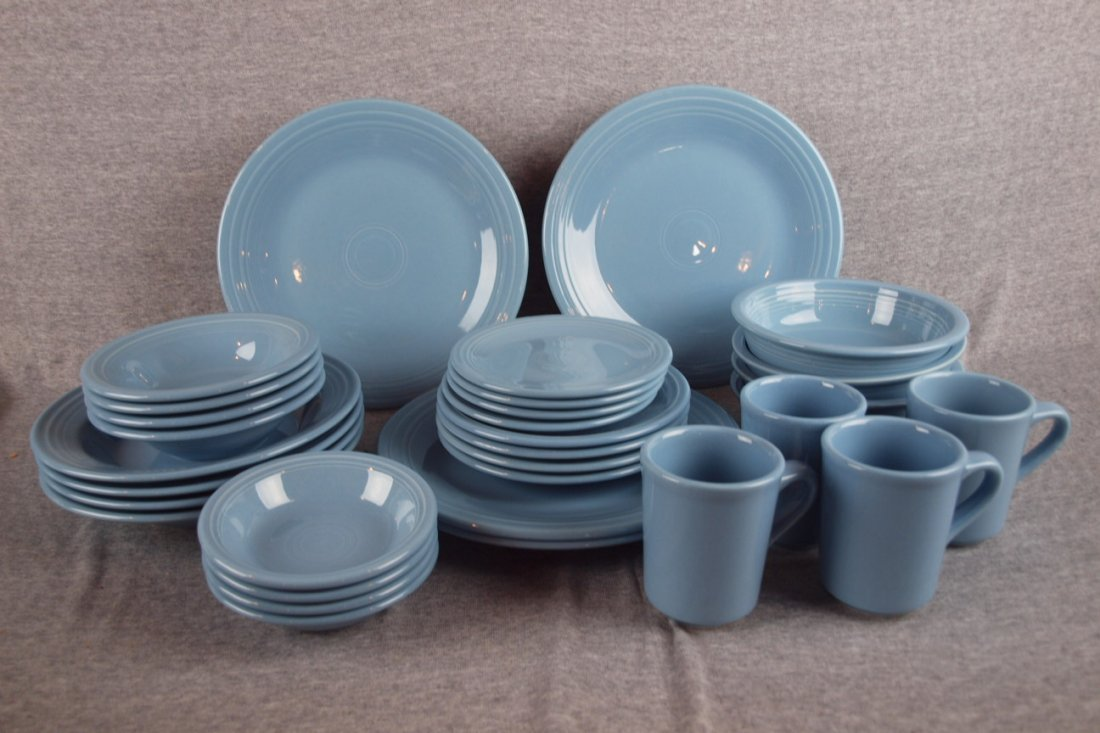 8:  Fiesta Post 86 Periwinkle 4-8 piece place settings,