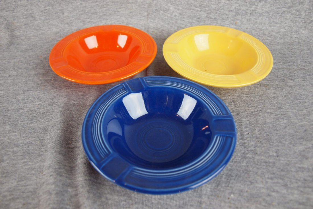 125:  Fiesta ashtray group - red, cobalt and yellow