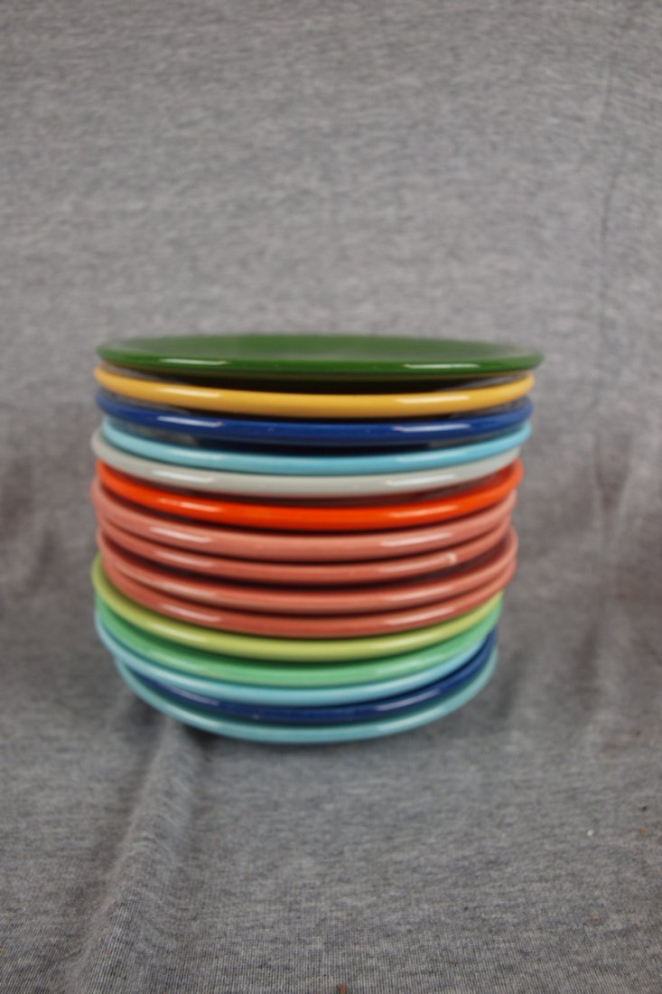 "192:  Fiesta 6"" plate group, 15 pieces, mixed colors"