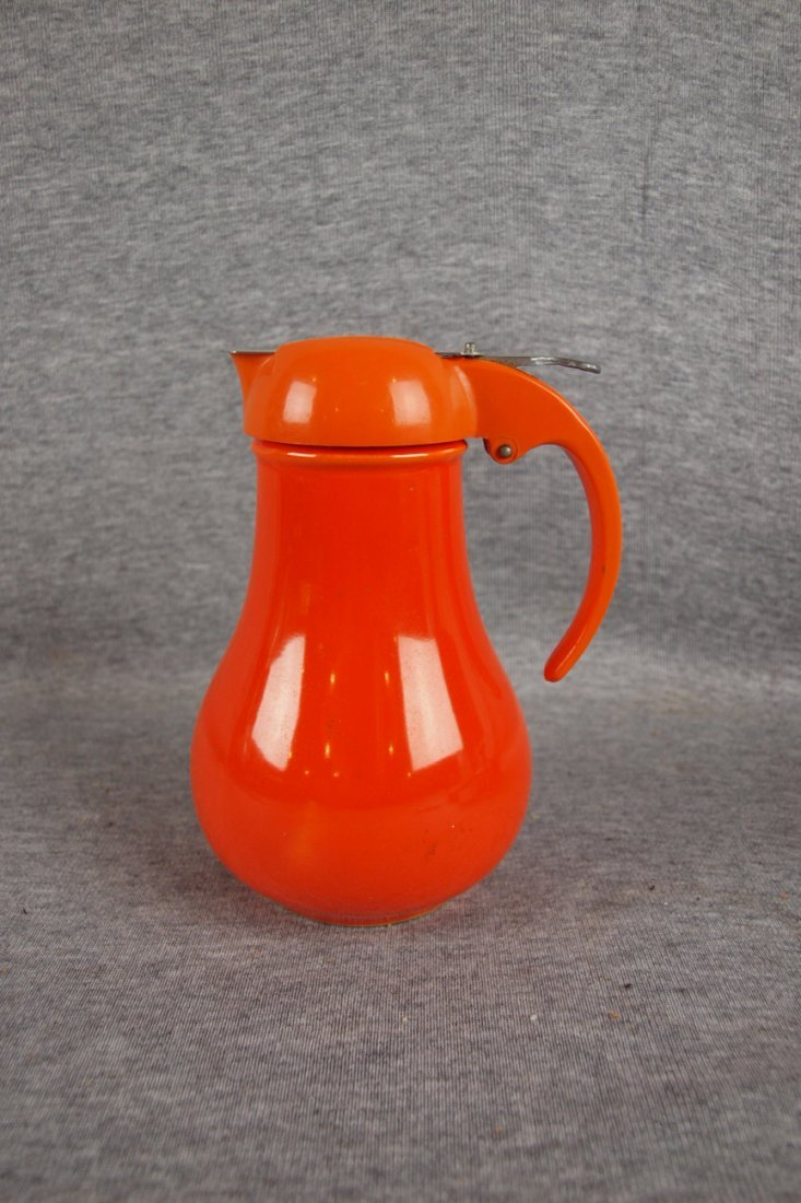 201:  Fiesta syrup pitcher, red