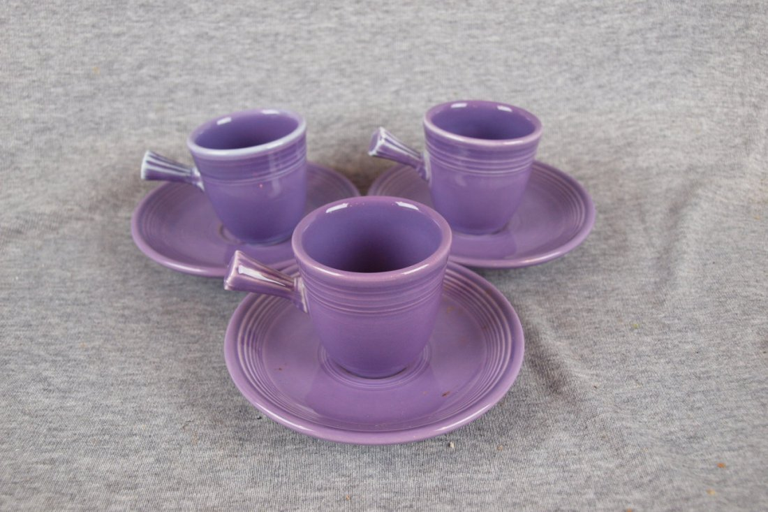 4: Fiesta lilac lot of 3 AD cups   and saucers