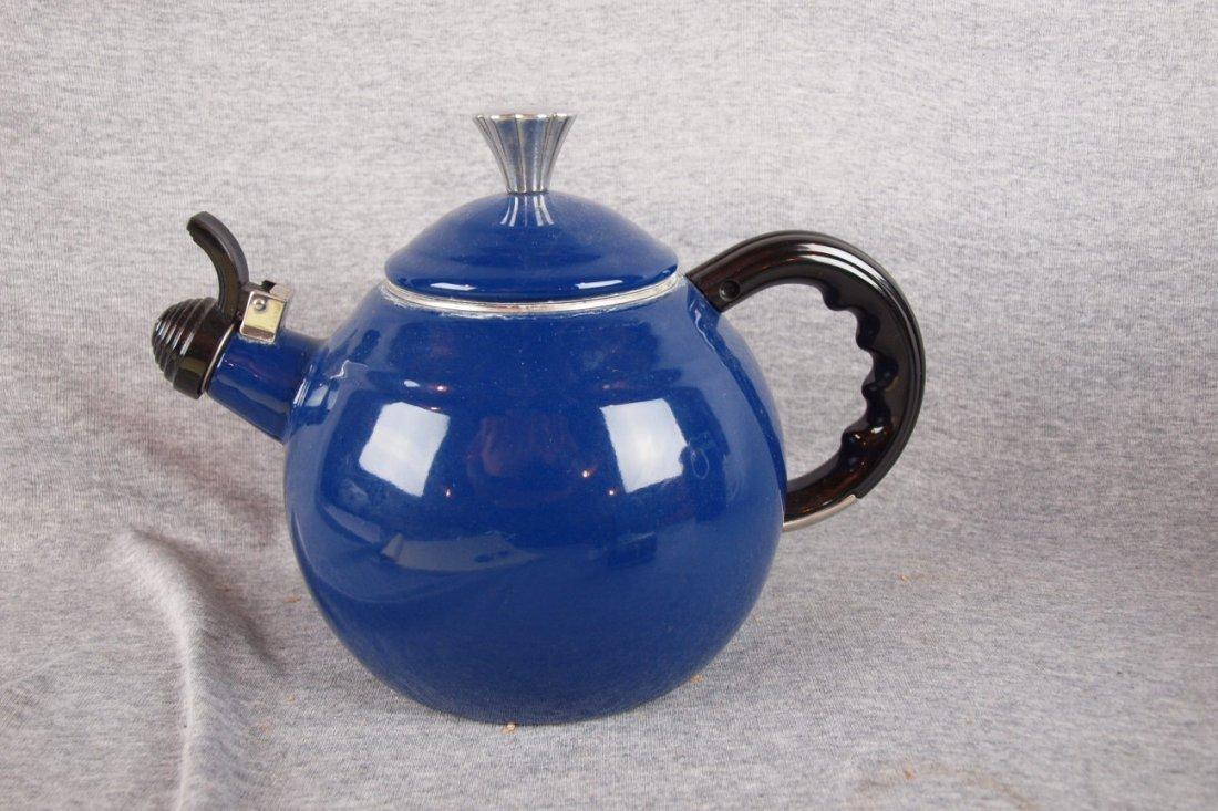 323:  Fiesta Copco large metal tea   kettle, cobalt, us