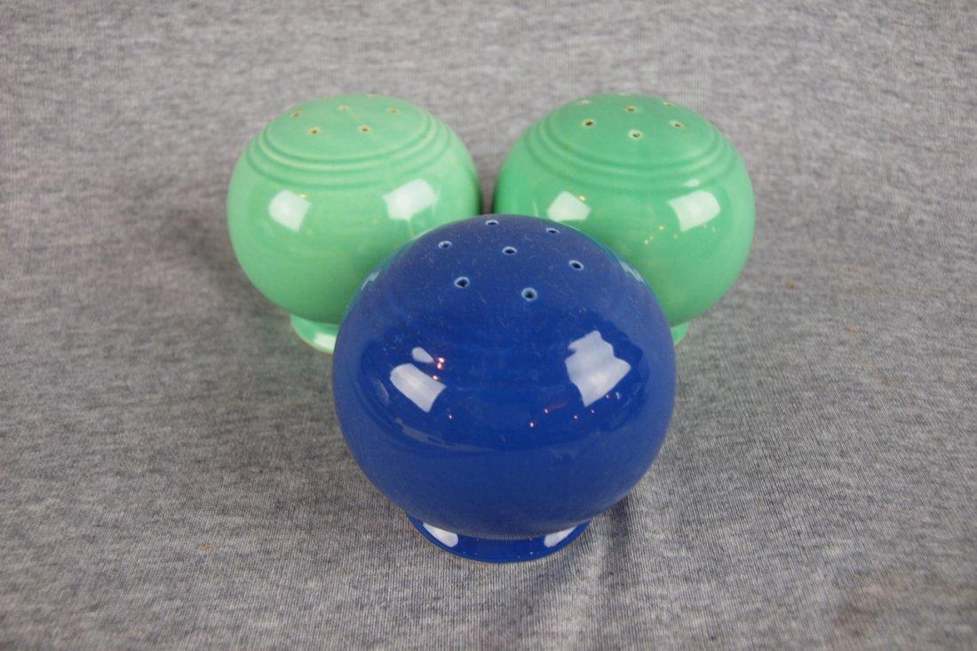 508: Fiesta Kitchen Kraft shakers,   2 green and 1 coba